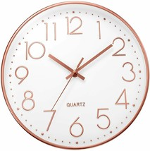 Ufengke Clock Wall Numbers 3D Gold Pink Single Clock Quartz Silent Modern - $205.01