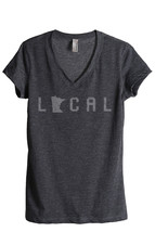 Thread Tank Local Minnesota State Women's Relaxed V-Neck T-Shirt Tee Charcoal - $24.99+