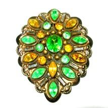 BEAUTIFUL VINTAGE ART DECO GREEN YELLOW GOLD TONE DRESS FUR CLIP PENDANT... - $150.00