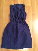 Anthropologie Maeve Women's Dress Beginnings Blue Ruffle Front Silk Slee... - $24.74