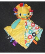Bright Starts Taggies Lion Baby Secufrity Blanket Lovey Yellow Teal Circles - $11.99