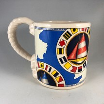 Vintage RUSS Nautical Sailboat Themed Illustrated Coffee Mug with Rope H... - $14.25