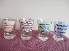 4 VTG SWANKY SWIGS DOUBLE SHOT GLASSES, SHEET MUSIC SONGS - $14.84