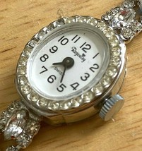 Vintage Regency Lady Bling Crystals Silver Swiss Hand-Wind Mechanical Watch Hour - $21.84