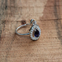 925 Sterling Silver Natural Fine Quality Blue Sapphire And Cz Gemstone Handcraft image 2