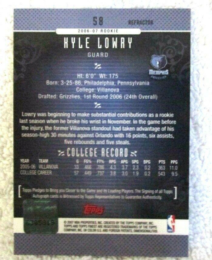 Kyle Lowry RC 2006-07 Topps Finest Refractor RC Hologram Autograph GEM10?Raptors image 2