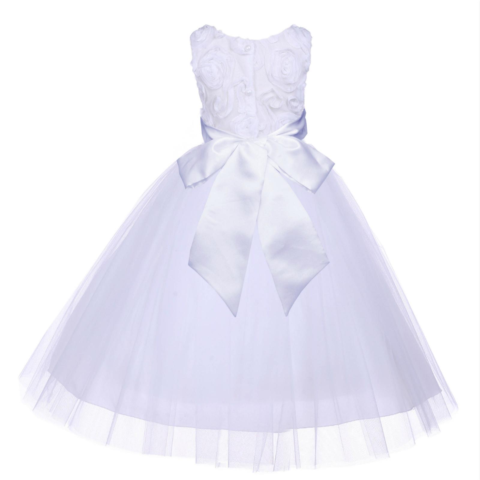 White Satin 3D Floral Design Flower Girl Dress Bridesmaid Pageant 152s