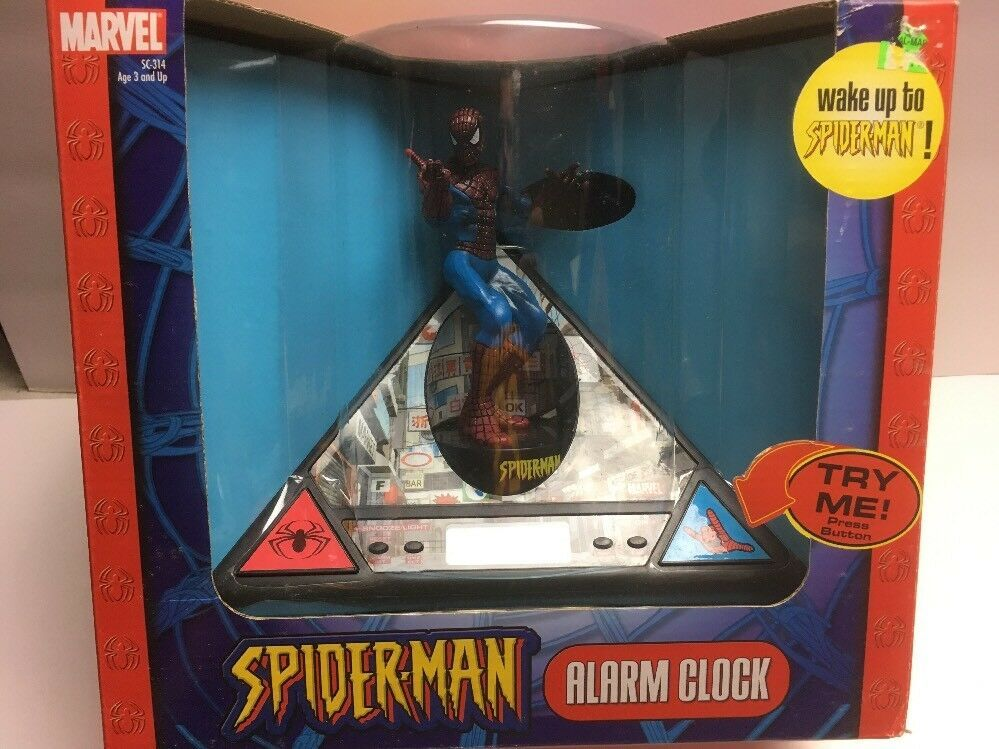 Primary image for 2004 Marvel Spider-Man Alarm Clock Talks & Revolves - New In Box (Dead Battery?)