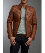 Men's Real Lambskin Tan Brown Leather Motorcycle Jacket Slim fit Biker Jacket - $119.99