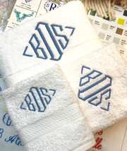 MONOGRAMMED 3 PIECES WHITE TOWELS SET-GRANDEUR HOSPITALITY-100% C0TT0N - £11.46 GBP