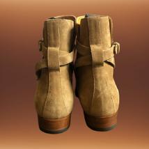 Handmade Men Monkstrap Beige High Ankle Boots image 3