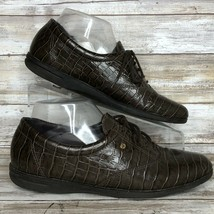 Easy Spirit Walking Sneaker Shoe 8.5N Motion Brown Leather Croc Print Ox... - €31,76 EUR