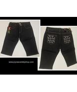 ZZVET Black Jean Shorts Indigo Stretch Iron Cross Design Juniors Various... - $10.99