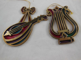 """Avon SNOW FANTASY Jewel Tone LYRE Stained Glass Ornaments  aprox 3"""" 1984 - $6.92"""