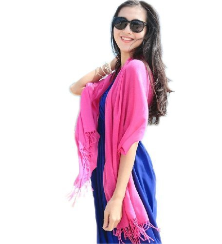 Tassel Fringe Style Sun Protection Solid Infinity Pashmina Beach Scarf Rosy Red