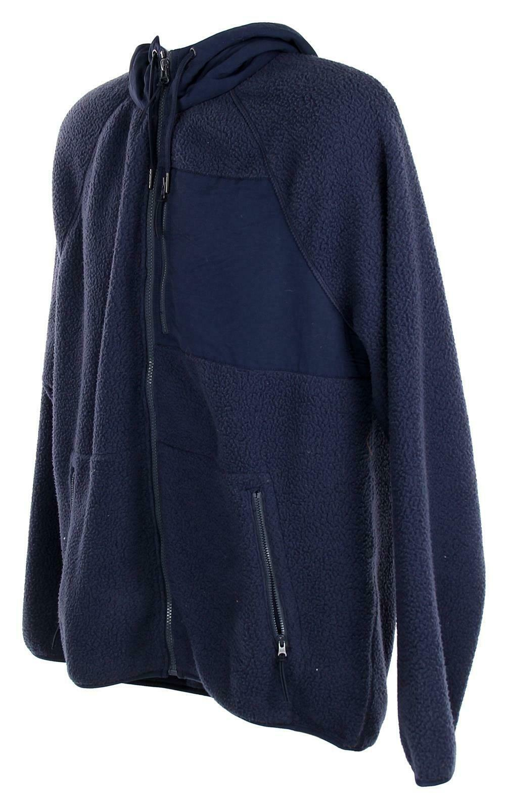J Crew Mens Sherpa Zip Front Hooded Jacket Fleece Coat L Navy K4296 image 3