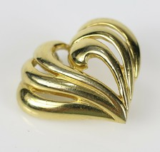 """Vintage Gold Tone Openwork Heart Signed """" NAPIER """" Brooch Costume Jewelry Pin - $7.16"""