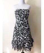 White House Black Market Silk Strapless Floral Dress Sz 2 Ruffle Hem - $26.13