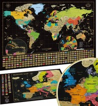 Map of The World Scratch Map With States Of USA And Flags Travel And Adv... - $214.87