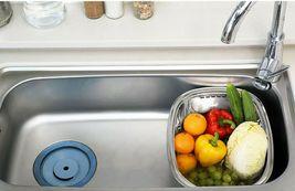 Kitchen Flower Stainless Steel Basin Dishpan Dish Washing Bowl Basket Rectangle image 6