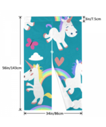 House Curtains Bedroom Cute Unicorns Clouds Rainbow And Stars Bifold Doo... - $32.00
