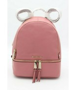 NWT MICHAEL Michael Kors Rhea Zip Pink Rose Leather Backpack Bag New $298 - $198.00