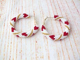 Red Heart Beaded Hoop Statement Post Drop Earrings Dangles for Women, Va... - $20.00