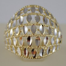 SOLID 18K WHITE & YELLOW GOLD BAND RING LUMINOUS FINELY WORKED MADE IN ITALY image 1
