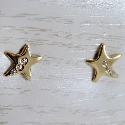 18K YELLOW GOLD EARRINGS MINI STARS STAR, ZIRCONIA FOR KIDS CHILD, MADE IN ITALY