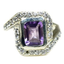 Natural Sterling Silver Amethyst Halo Ring For Women Handmade Jewelry Si... - £23.78 GBP
