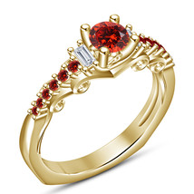 Round Cut Red Garnet 14k Yellow Gold FN. 925 Silver Solitaire With Accen... - $79.28