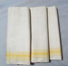 Vintage Napkins Tea Towels Table Linens Beige Yellow Stripe Set 3 Home K... - $20.45