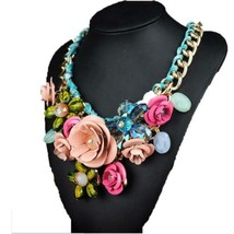 Ornament Crystal Flower Woman Necklace Woman Short Sweater Necklace    p... - $18.80