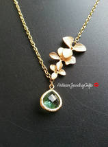 Aqua Gem Necklace Gold Orchid Trio Lariat Aqua Gemstone Necklace Gold Or... - $48.00+