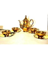 Original ARNART GOLD Tea Set Tea Pot Creamer Sugar Cups Saucers  - $94.95