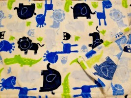 Baby Starters Blanket Animals Blue Green Elephant Owl Lion Giraffe Soft  - $34.63