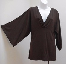 Ann Taylor Loft S Top Brown Tunic Peasant Draped 3/4 Wide Sleeve Made in... - $17.62