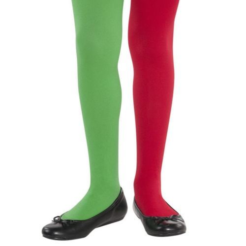 Child 4 - 6 S/M Small Elf Tights Red Green