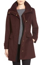New NWT Womens Cole Haan Coat 10 Wool Bordeaux Dark Red Burgundy Stand U... - $152.00