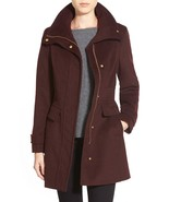 New NWT Womens Cole Haan Coat 10 Wool Bordeaux Dark Red Burgundy Stand U... - $152.00