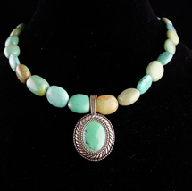 Chunky LARGE turquoise Necklace /  signed sterling pendant /  Carolyn Po... - $145.00