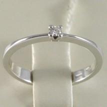 Anillo de Oro Blanco 750 18Ct, Solitario con Diamante, Ct 0.05 , Made In Italy image 2