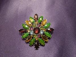 Vintage Liz Claiborne LC Multi-Color Rhinestone Brooch Pin Designer Signed - $19.80