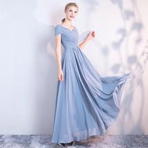 DUSTY BLUE Bridesmaid Dress 2019 Summer Chiffon Dusty Blue Bridesmaid Maxi Dress image 2