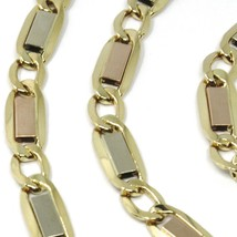 """18K YELLOW WHITE ROSE GOLD CHAIN 6 MM, 24"""" SQUARE FLAT ALTERNATE GOURMETTE LINKS image 2"""