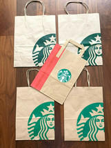 5 Starbucks Paper Shopping Lunch Bag Handle Lot Mix Size From Seattle 1s... - $10.40