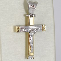 Cross Pendant Gold Yellow White 750 18k, with Christ, Modern, Made in Italy image 1
