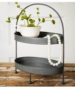 Two-Tier Metal Tray Vintage Style Rustic Farmhouse Vanity Kitchen Home D... - $44.50