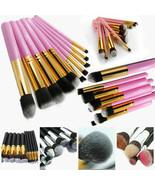 Pro 10Pcs Cosmetic Makeup Brushes Tool Eyebrow Lip Contour Foundation Br... - $14.95