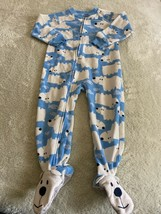 Carters Boys White Polar Bears Blue Fleece Long Sleeve Pajamas 2T - $6.43
